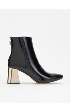 Botine cu toc auriu, Încălţăminte, negru, RESERVED Ankle Boots, Adidas, Heels, Fashion, Ankle Booties, Heel, Moda, Fashion Styles, High Heel