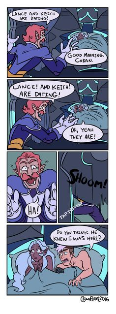 """crownflame: """"Flat Comic commission for @jaksandrow. Friends + Voltron + ???= PROFIT (Based on this) Commission info here! And every little bit helps at my Patreon! """""""