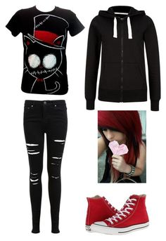 Emo outfit #1 by amberpend on Polyvore featuring polyvore, fashion, style, Miss Selfridge and Converse