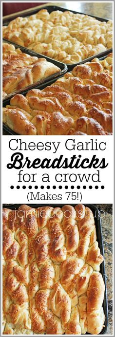 Cheesy Garlic Breadsticks for a Crowd (Makes If you are making food for a large gathering like girls camp, youth conference, or a family reunion this breadstick recipe is amazing and makeahead/freezer friendly. Camping Food Make Ahead, Camping Meals, Camping Recipes, Camping Cooking, Cooking For A Crowd, Food For A Crowd, Tin Foil Dinners, Garlic Breadsticks, Brunch