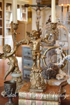Antique French Candelabra Two Arm Spelter Cherub by edithandevelyn on Etsy
