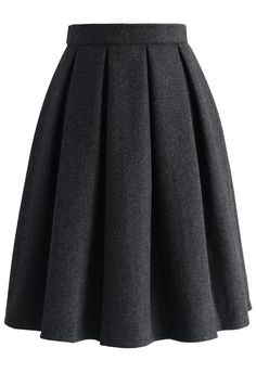 Wool-blend Pleated Twill Skirt - Skirt - Bottoms - Retro, Indie and Unique Fashion