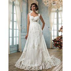 Lan Ting Sheath/Column Plus Sizes Wedding Dress - Ivory Court Train Square Tulle – USD $ 179.99