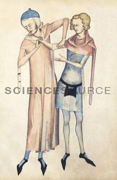 Pulse measurement. 14th century artwork of a doctor measuring a patient's pulse. As seen here, the pulse can be taken at the wrist or in the armpit. Artwork from Anathomia (1345), by the Italian anatomist Guido da Vigevano.