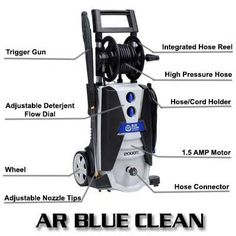 AR Blue Clean AR390SS Cold Water Electric Pressure Washer Review Best Pressure Washer, Pressure Washers, Cord Holder, Hose Reel, Electric, Cold, Cleaning, Water, Blue