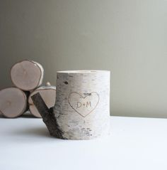 Personalized White Birch Wood Candle Holder - carved heart & initials, anniversary gift, 5 years anniversary gift, rustic candle holder by urbanplusforest on Etsy https://www.etsy.com/listing/77157256/personalized-white-birch-wood-candle