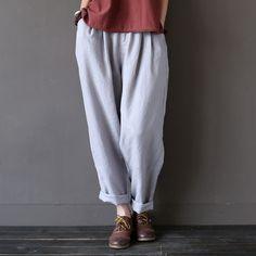 Johnature 2017 New Spring Women Loose Cotton Linen Trouser Casual Elastic Waist Straight Vintage Female Pants