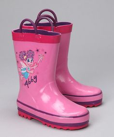 Take a look at this Pink Abby Cadabby Rain Boot - Kids by Perfect for Puddles: Rain Boots on #zulily today!