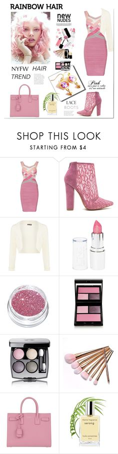 """""""Matchy - Matchy Rainbow Hair Trend"""" by belladonnasjoy ❤ liked on Polyvore featuring beauty, Material Girl, Phase Eight, Glitter Pink, Surratt, Chanel, Industrie, Yves Saint Laurent, hairtrend and rainbowhair"""