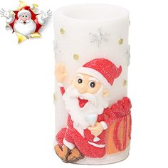 Flameless Candles with Timer, Battery Operated Candles with Santa Claus Design for Christmas Decorations & Home Decorations by HANPURE - ☺At HANPURE battery operated candles, we want HANPURE customers to experience the maximum enjoyment and pleasure from HANPURE Christmas decorations. ☺Enjoy the flickering glow and homey scent of HANPURE real wax candle-without the mess or potential hazard of an open flame. ☺H...