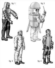 """Suits Considered for Lunar Mission  1957-1962  The four suits pictured here were among the many early concepts considered. Unbounded by strict directives for the mission, the designers ranged wildly. They fashioned everything from the Litton Company's Mark 1 Suit (fig. 1), initially created in the 1950s to allow workers to assemble vacuum tubes while standing inside a vacuum chamber, to the """"Capsule Suit"""" (fig. 2) imagined by Republic Aviation in 1960."""