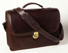 Double Compartment Briefcase - Brown - In stock - Front View