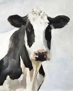 Cow - Art Print - 8 x 10 inches - from original painting by J Coates by JamesCoatesFineArt on Etsy Cow Wall Art, Cow Art, Cow Canvas, Cow Gifts, Cow Pictures, Holstein Cows, Cow Painting, Canvas Prints, Art Prints
