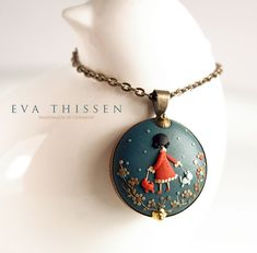 Walking The Dogs. Original wearable art. Made to order hand made polymer clay pendant. by Eva Thissen Gallery, via Flickr