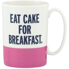 kate spade new york Mug Eat Cake White By (26 CAD) ❤ liked on Polyvore featuring home, kitchen & dining, drinkware, mugs, food, accessories, cups, fillers, coffee & tea cups and porcelain tea cups