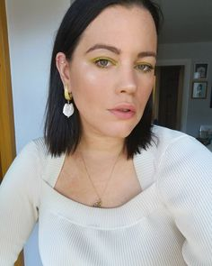 Representing for Paddy's Day with my green eyeshadow. Read: this was taken last week when I actually put on makeup and brushed my hair 😂 Putting On Makeup, Pearl Earrings, Drop Earrings, Paddys Day, My Beauty, My Hair, Selfie, Green