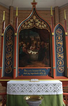 """Interior of Selje church, built in 1866, Norway. """"Anyone, who comes to me, shall I never reject."""""""