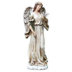 "Garden Memorial Rock Praying Angel Cross Figure Funeral Cemetery Grave Statue 9/"""