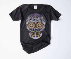 Old School Skull baby bodysuit. Black 0 3 6 12 months Day of the Dead Trendy Boy clothes Infant shirt Romper Hipster Shower Gift faded blues by BonesNelson on Etsy https://www.etsy.com/listing/202344914/old-school-skull-baby-bodysuit-black-0-3