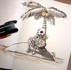 """Inktober Day 30 """"FOUND"""" I'm a little behind, as per usual, but I'm still going to wrap this up strong. I'll let you guys fill in the clever caption to this one. Clever Captions, Drawing Sketches, Drawings, Pretty Art, Inktober, Creepy, Journaling, Fill, Character Design"""