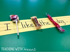 Use leftover Halloween candy to practice putting spaces between words! Find more fun ideas in this blog post!