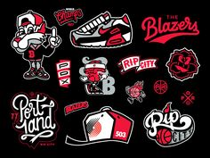 Set of concept vectors inspired by the Portland Trail Blazers. Graffiti Lettering, Typography Logo, Art Logo, Logos, Gfx Design, Portland Trailblazers, Trail Blazers, Logo Design Inspiration, Sticker Design