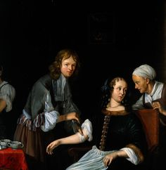 Un cirujano venda un brazo a una mujer (A surgeon binding up a woman's arm after bloodletting). Jacob Toorenvliet. 1666. Localización: Wellcome Library (Londres). https://painthealth.wordpress.com/2015/11/26/un-cirujano-venda-un-brazo-a-una-mujer/