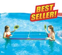 Floating ping-pong game is the perfect pool toy for all swimming pools. Includes table, paddles and balls. Everything floats for fun in the pool. http://www.intheswim.com/Pool-Accessories/Pool-Toys-and-Pool-Games/Floating-Ping-Pong-Game/
