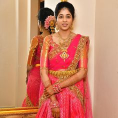Image may contain: 1 person, standing Half Saree Designs, Pattu Saree Blouse Designs, Blouse Designs Silk, Saree Blouse Patterns, Lehenga Designs, Half Saree Lehenga, Lehnga Dress, Gown Dress, Pink Half Sarees