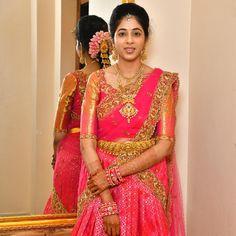 Image may contain: 1 person, standing Pattu Saree Blouse Designs, Half Saree Designs, Blouse Designs Silk, Saree Blouse Patterns, Lehenga Designs, Dress Designs, Wedding Saree Blouse, Bridal Silk Saree, Organza Saree