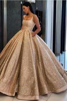 Gold Wedding Gowns, Gold Prom Dresses, Pretty Prom Dresses, Prom Party Dresses, Elegant Dresses, Dress Prom, Dress Long, Gold Quinceanera Dresses, Long Dresses