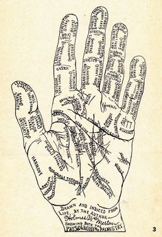 SPRING Manteia Print on Archival Paper: Illustration comes from a early guide to palmistry, phrenology and face-reading. Pictured: Metallic-Copper ink on cotton paper. Wiccan, Magick, Witchcraft, Le Bateleur, Palm Reading, Fortune Telling, Book Of Shadows, Numerology, Creations