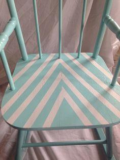 Blue Chevron Children's rocking chair: up-cycled kids furniture, newborn photo prop on Etsy, $50.00