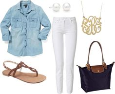 """""""Chambray Outfit"""" by allprepped328 ❤ liked on Polyvore"""