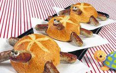 Schildkrötenparade: Kaiserbrötchen mit Bratwürstchen