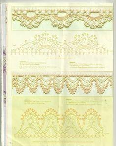 Veronica crochet y tricot. Crochet Lace Edging, Crochet Borders, Crochet Diagram, Crochet Chart, Thread Crochet, Crochet Trim, Love Crochet, Irish Crochet, Beautiful Crochet