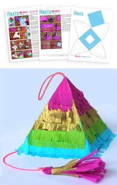 Pinata tutorial and template free to download at Happythought https://happythought.co.uk/craft/tutorials/how-to-make-a-pinata