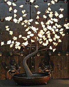 Pre Lit White Bonsai Tree 128 Lights - Decorative Bowl Included