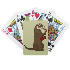 Ferret Playing Saxophone Playing Cards #ferrets #music #playingcards #saxophone #art #gifts #funny #animals #zazzle #petspower