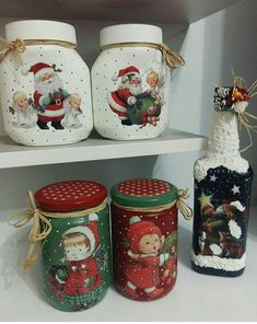 Diy Christmas Angel Ornaments, Christmas Decoupage, Christmas Jars, Christmas Scenes, Christmas Decorations, Kindergarten Christmas Crafts, Christmas Projects, Painted Wine Bottles, Painted Mason Jars