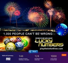 L@@K - Just hit my first 1,000 members!!!  :)  - JOIN NOW & *Discover the Secret* of How to Play the Euro Millions Lotto for FREE each week & with 50 times better odds of winning... You'll soon be very glad that you did!  :) LEARN HOW NOW TO - playthelotto4free.com - Rules KO!!