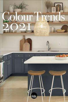 Kitchen Color Palettes, Kitchen Color Trends, Kitchen Colour Schemes, Colour Trends, Trending Paint Colors, Best Paint Colors, Paint Colours, Kitchen Cabinet Colors, Kitchen Colors