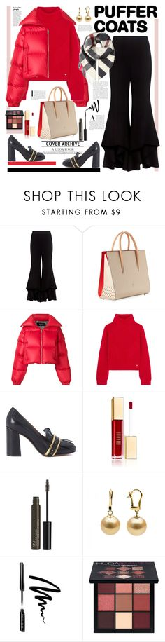 """""""Puffer Coat"""" by ellie366 ❤ liked on Polyvore featuring Alexis, Christian Louboutin, MISBHV, Versace, L'Autre Chose, NYX, Bobbi Brown Cosmetics, Huda Beauty, Burberry and loafers"""