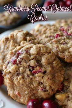 Oatmeal Cookie Recipes, Cookie Desserts, Just Desserts, Banana Oatmeal Cookies, Cookie Tray, Dessert Recipes, Cranberry Cookies, Cranberry Recipes, Cranberry Pecan Bread Recipe