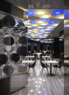 Restaurant at Boscolo Hotel Milan, Italy designed by Gio Ponti Architect