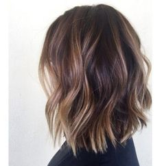 Balayage Lob, Hair Color Balayage, Hair Highlights, Lob Ombre, Color Highlights, Hair Color Dark, Cool Hair Color, Brunette Lob, Blonde Lob