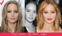 Jennifer Lawrence - Soft Natural. Best makeup (left) vs. wrong makeup.