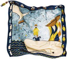 MOBY DICK #mobydick #handillustrated #print #silk #scarf and #amigurumi by #rumisu