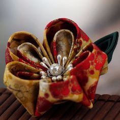 Fabric Flower Brooch Japanese Flower Gold and Red  by PetalMix, $24.00