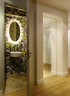 Bold Floral - Powder Room Wallpaper Design Ideas - Photos